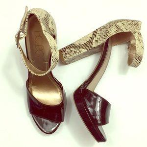 BCBG Paris Peep Toe Block High Heel Pump Shoes
